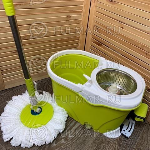 Швабра и ведро с педалью для отжима и полоскания Spin Mop 9 литров Салатовая