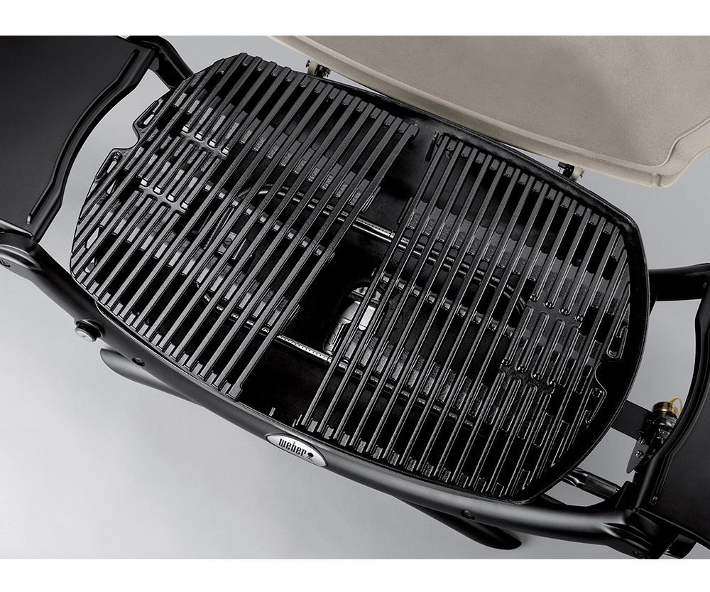 Гриль газовый Weber Q 1200 Black Line, черный на подставке