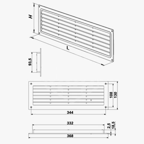 Решетка дверная 370х130 мм Vents МВ 350
