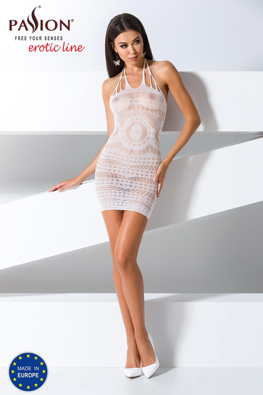 Белое эротическое платье-сетка