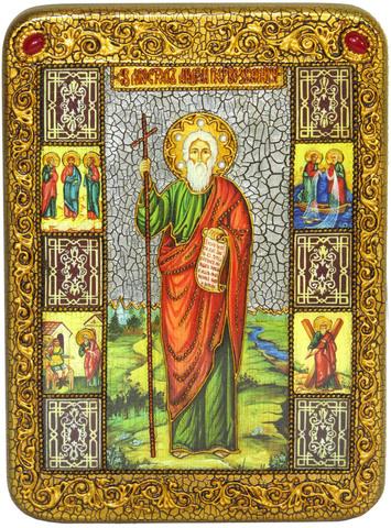 Инкрустированная икона Святой апостол Андрей Первозванный 29х21см на натуральном дереве в подарочной коробке