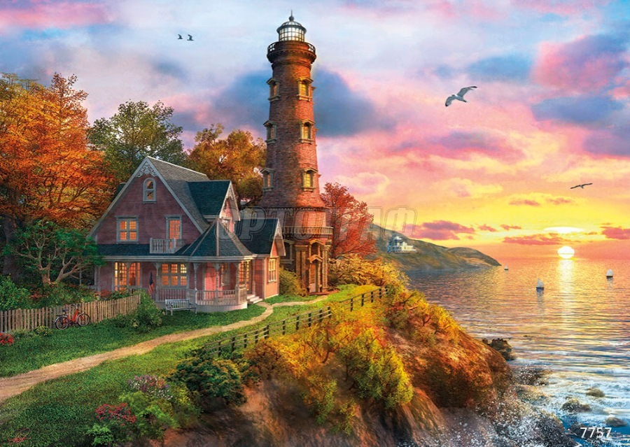 Картина раскраска по номерам 40x50 Маяк у дома на берегу ...