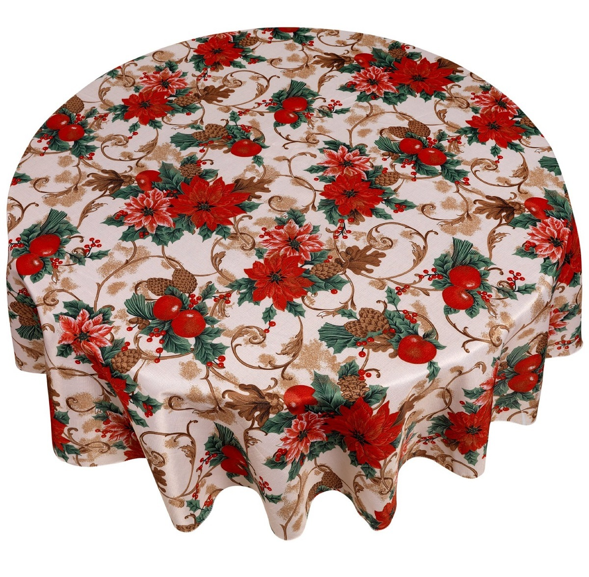 Кухня Скатерть круглая 178 Carnation Home Fashions Christmas Fabric Tablecloths Christmas Floral skatert-carnation-christmas-fabric-tablecloths-christmas-floral-ssha-kitay.jpg