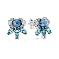 Silver stud earrings with moonlight blue crystal, sky blue crystal and opalescent white crystal