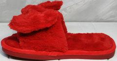 Пушистые тапочки женские красные с бантом Yes Mile A-08 Red Bow.