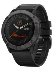 Мультиспортивные часы Garmin Fenix 6X Pro Solar - титановый серый DLC с черным ремешком 010-02157-21
