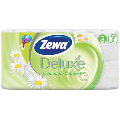 Бумага туалетная Zewa Deluxe ром 3с бел100%цел втул20,7м 150л 8рул/уп 5365