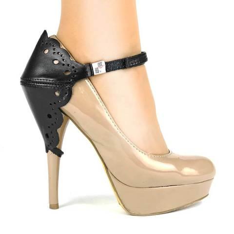 Автопятка для женской обуви на каблуке ажурная черная