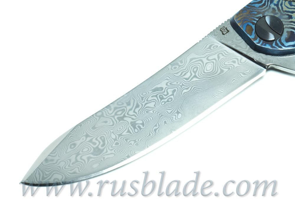 Cheburkov Frieze Damascus Mammoth Folding Knife