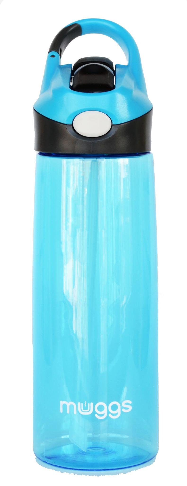 Бутылка для воды Muggs Flip Straw с трубочкой 600 мл. голубая