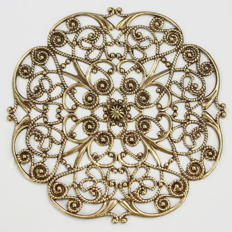 """Винтажный декоративный элемент - филигрань """"Прекрасный цветок"""" 63х63 мм (оксид латуни)"""