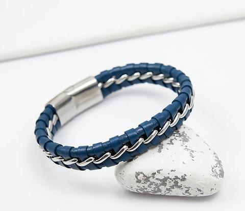 Мужской браслет из кожи синего цвета с цепочкой (20 см)