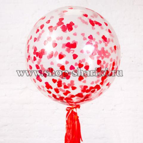 Большой шар с конфетти сердца