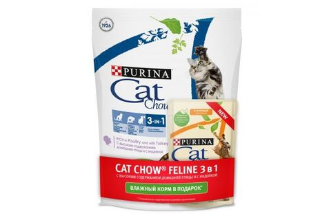 ПРОМО! Purina Cat Chow сухой корм для кошек 3в1 400 г + 85 г