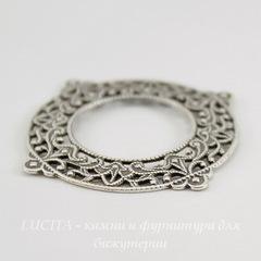 Винтажный декоративный элемент - рамка филигранная 33х29 мм (оксид серебра)