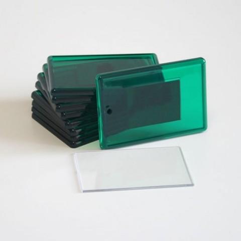 Акриловый магнит 52х77 мм с тиснением, зеленый