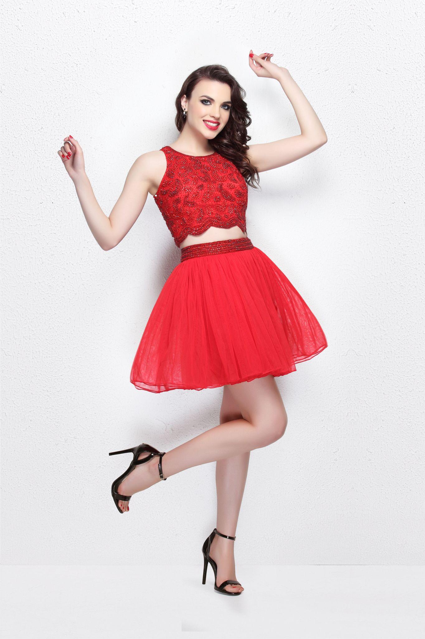 Camilla 19507 красное короткое пышное платье топ и юбка