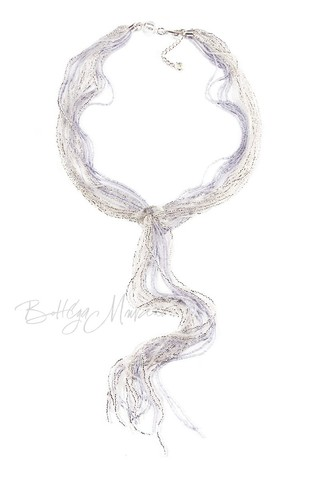 Бисерный галстук из 18 нитей цвет серебристо-серый