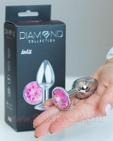 Анальный страз Lola Diamond Pink Sparkle Small (2,8 х 6 см )