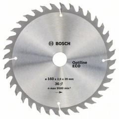 Диск по дереву Bosch 160х2,5х20/16 мм Optiline ECO Z36