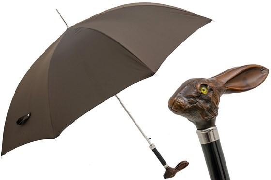 Зонт-трость Pasotti Brown Umbrella with Rabbit Handle, Италия