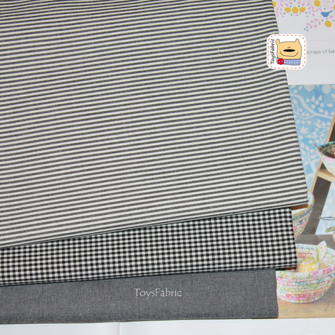 Набор тканей корейский двусторонний хлопок 51827 Чёрный (45х35см/3шт.)