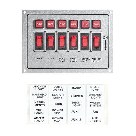 Панель переключателей (6 шт) горизонтальная серая, алюминий