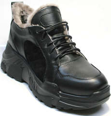 Стильные черные кроссовки сникерсы женские зимние Studio27 547c All Black.