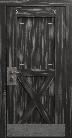 Входная дверь «Loft» в цвете, Эмаль черная (массив сосны)