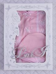 Трикотажный человечек для девочки + шапочка (розовый/белый, р.56)