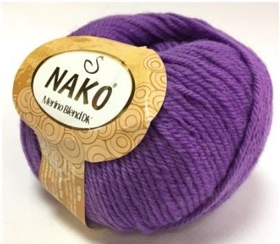 Пряжа Nako Merino Blend DK 1496 темная сирень