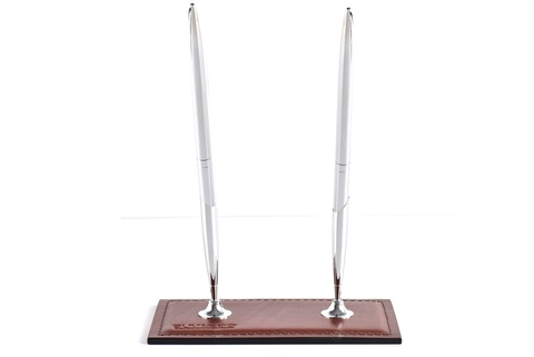Подставка для двух ручек BUVARDO PREMIUM из кожи Full Grain Toscana/Cuoietto шоколад