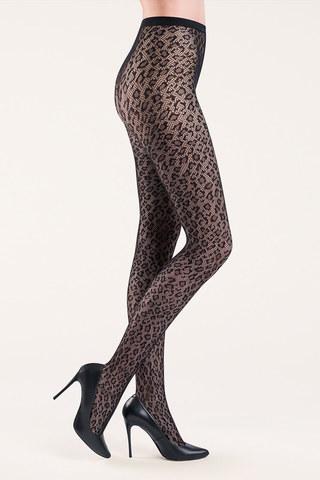 Женские колготки в сетку леопардовым рисунком