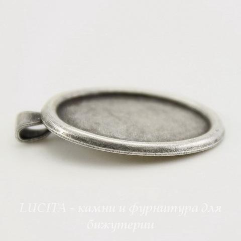 Сеттинг - основа - подвеска для камеи или кабошона 18х13 мм (оксид серебра) ()