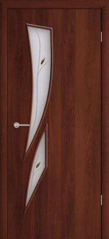 Дверь Фрегат ПО-012Ф, матовое с фьюзингом, цвет итальянский орех, остекленная