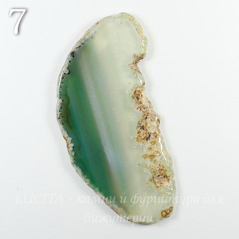 Подвеска Срез Агата, цвет - прозрачно-зеленый, 57-82 мм (№7 (77х39 мм))