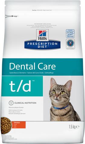 купить хиллс Hill's™ Prescription Diet™ Feline t/d Dental Care with Chicken сухой корм для взрослых кошек, диетический рацион при заболеваниях полости рта 1.5 кг