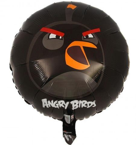 Фольгированный шар круг Angry Birds черная