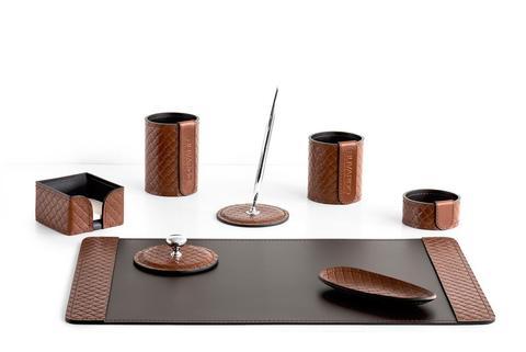 Подарочный набор из кожи FG Tan treccia/шоколад 8 предметов