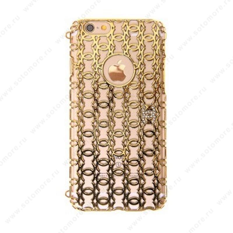 Накладка Chanel пластиковая для Apple iPhone 6s/ 6 резная золото