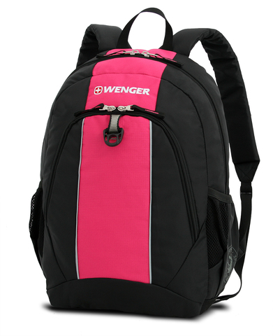 Качественный с гарантией прочный школьный рюкзак на молнии чёрный с розовым объёмом 20 л из полиэстра 600D с боковыми карманами для бутылок из эластичной сетки, эргономичной ручкой и системой поддержки спины Comfort Fit WENGER 17222015