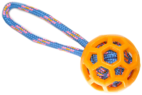 NEMS игрушка резиновый мяч 7.6 см с  цветной веревкой