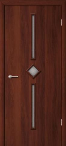 Дверь Фрегат ПО-09, рифлёное, цвет итальянский орех, остекленная