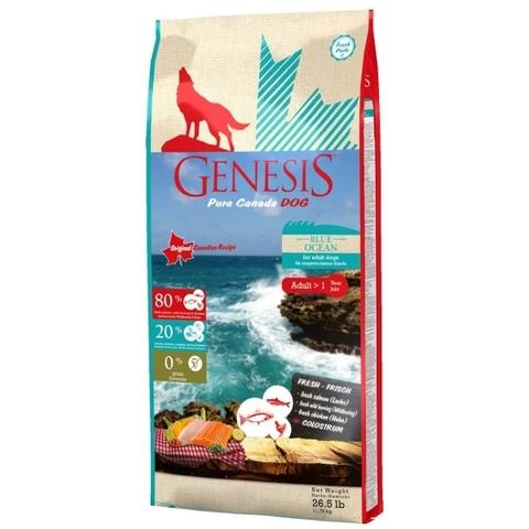 Genesis Pure Canada Blue Ocean Adult для взрослых собак всех пород с лососем, сельдью и курицей 11.79 кг