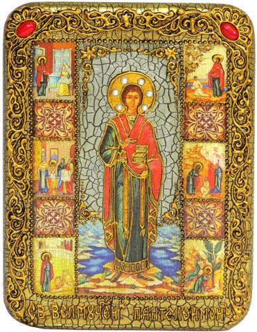 Инкрустированная икона Святой Великомученик и Целитель Пантелеймон 20х15см на натуральном дереве в подарочной коробке