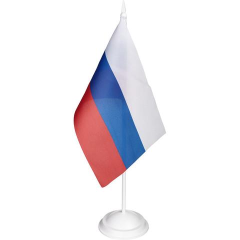 Флаг РФ 12*18см с подставкой 1-ой белый пластик 30см