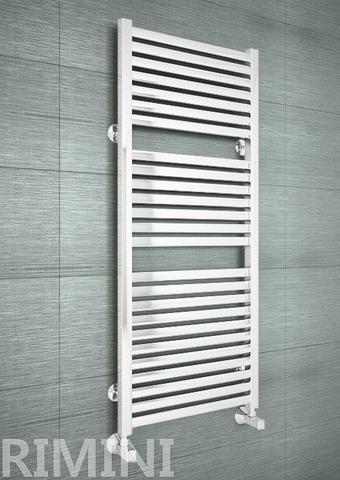 Rimini White - белый дизайн полотенцесушитель с прямоугольными горизонталями.