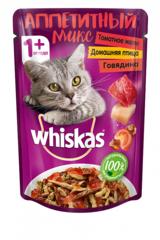 Whiskas пауч Аппетитный микс домашняя птица и говядина в томатном желе 85 гр
