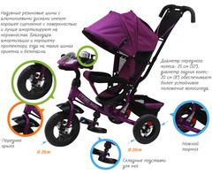 Детский трёхколёсный велосипед с ручкой и музыкой ( красный ) Sweet baby - колёса надувные