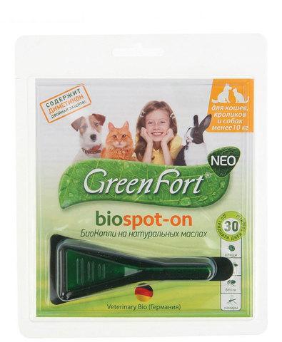 Green Fort neo БиоКапли от блох и клещей для кошек, кроликов и собак до 10 кг 1мл (1x60)